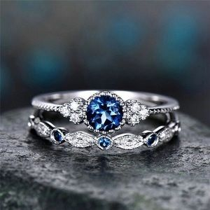 2pcs stackable blue dainty cz ring